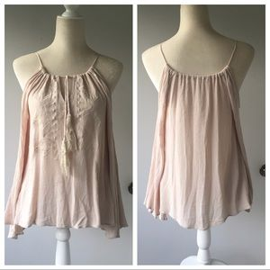 Staring at Stars Cold Shoulder Bell Sleeve Tie Top