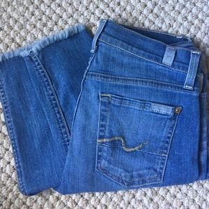 7 for all mankind skinny frayed hem ankle jeans