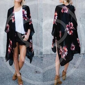 PENZEE Floral Shawl - BLACK