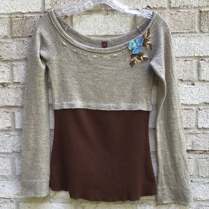 Anthropologie ballet neck long sleeve top