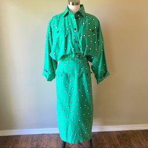 Vintage Polka Dot Button up Back Maxi Dress