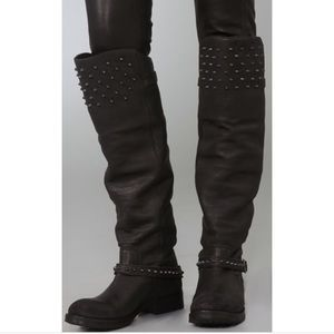 ASH LEATHER STUDDED OVER THE KNEE BOOT