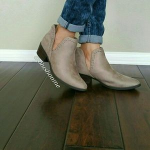 Shoes - Slip On Ankle Cut out Vegan Suede Booties