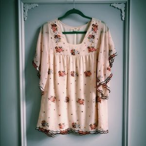 Anthropologie Hazel Cross-Stitch Blouse