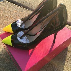 4 inch heels with neon toe