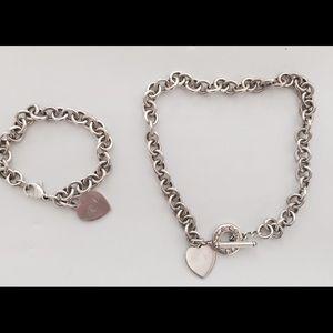Tiffany & Co toggle heart necklace & bracelet set