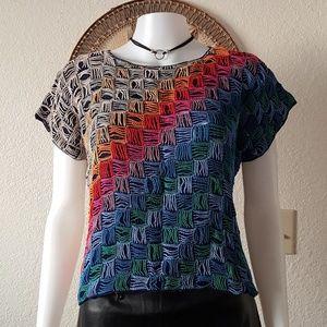 Multicolored crochet top