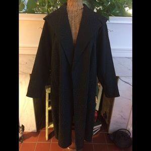 Vintage Mid Century Black Swing Coat S