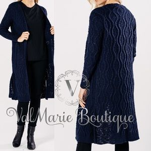 Long Blue Knitted Cardigan