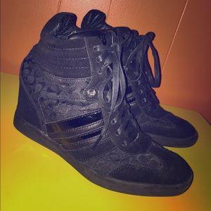 Coach Alara Black Signature Wedge Sneakers 8M