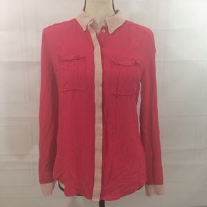 Anthropologie Maeve Sz 2 Pink Button Up Shirt