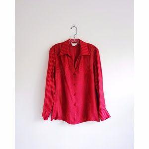 Barry Bricken Red Pinstripe Silk Button Down sz M
