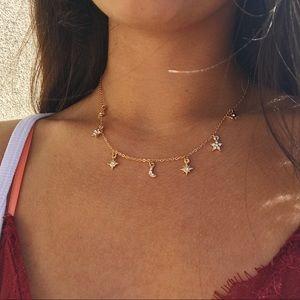 Dainty moon + stars necklace