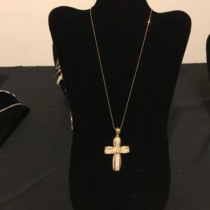 Beautiful diamond and gold plated cross necklace
