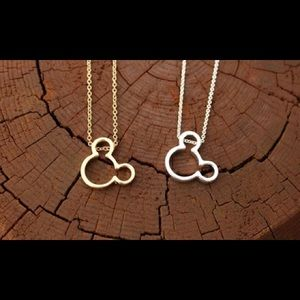Gold Tone or Silver Tone Mickey Ear Necklace