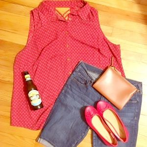 🆕🙆🏽🙋🏼PLUS Roz & Ali Red Collar Blouse CutOut