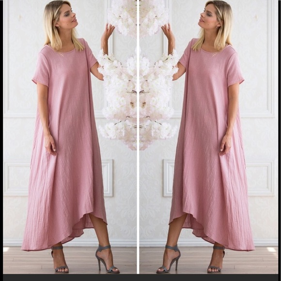 e1d16305c44b Dusty Rose Short Sleeve High-Low Maxi Dress
