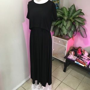 ASOS SZ M OR 6 BLACK MAXI DRESS LONG COTTON CHIC