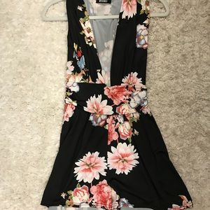 Misguided Floral Low Cut Romper