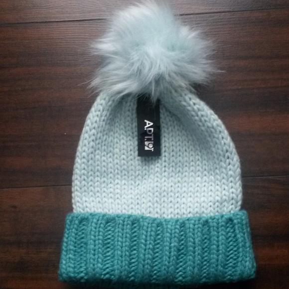 602a350fc37bd0 Apt. 9 Accessories | Green Twotone Pompom Hat | Poshmark