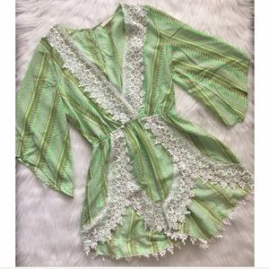 Green Low V Lace Romper