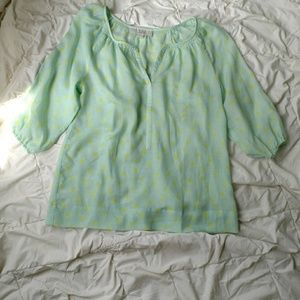 Ann Taylor Loft teal polka dot blouse