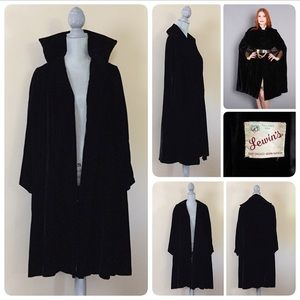 Vintage 60's black velvet cape jacket