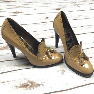 Sam Edelman Patent Leather Tan Tassel Loafer Heels