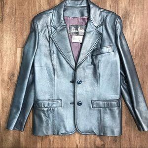 Vintage stunning steel blue leather blazer