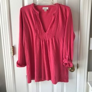 Coral Women's rolled sleeve tunic