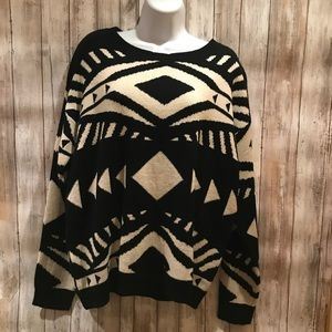 🆕 NEW WITH TAGS Aztec black and white sweater