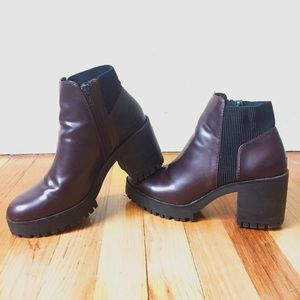 Zara Patent Burgundy Platform Chunky Heel Booties