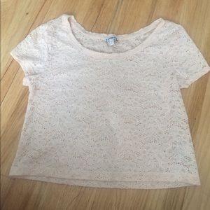 Express Light Pink Lace T Shirt Size Small
