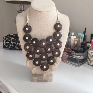 Stella and Dot Wooden Bib Necklace
