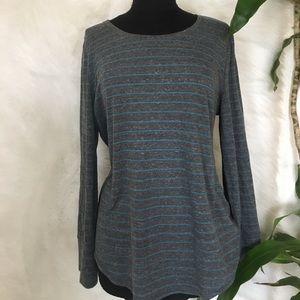 Loft Grey & Blue Striped Long Sleeve
