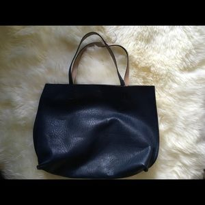 Reversible Faux Leather Tote and Wristlet
