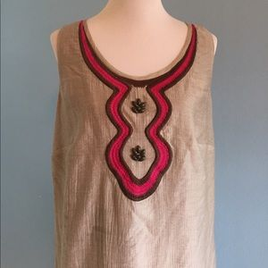 Taupe Sheath with Pink and Brown Accents