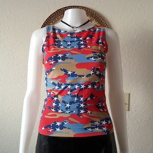 Camouflage star print tank top
