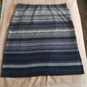 Gray purple black Striped Elastic Waist Skirt 1X