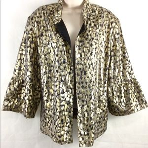 Chico's Gold Silk Metallic Jacquard Jacket