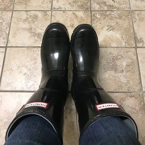 Black Glossy Short Hunter Boots