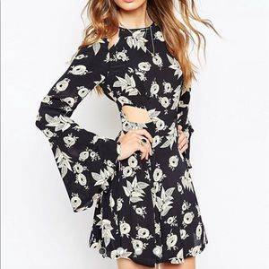 ASOS Cut Out Flared Sleeve Dress