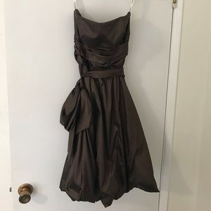David's bridal chocolate brown strapless dress