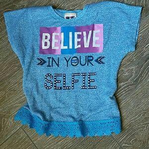 Other - Girl's boutique blue shirt Selfie bling medium