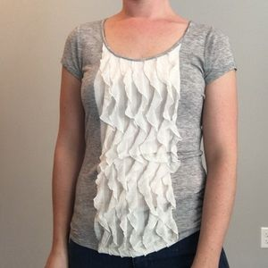 The Limited tee with ruffle detail on front, XS