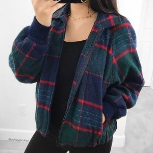Jackets & Blazers - vintage green and red flannel coat