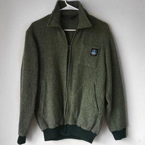 Vintage 1980s Green Wool Bomber Jacket