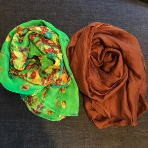 Accessories - Green Floral & Brown Cotton Scarves
