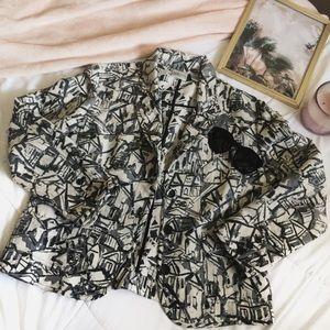 [CHICO'S] Silk print blazer