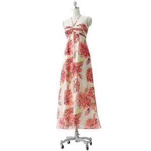LC Lauren Conrad Tropical Floral Halter Maxi Dress